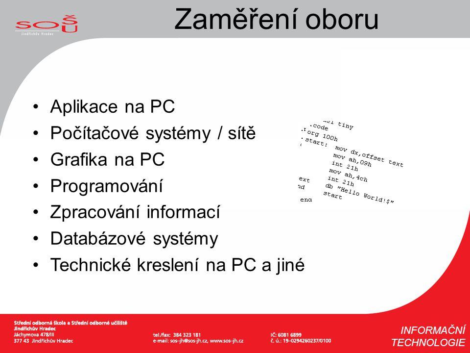 Zaměření oboru Aplikace na PC Počítačové systémy / sítě Grafika na PC Programování Zpracování informací Databázové systémy Technické kreslení na PC a
