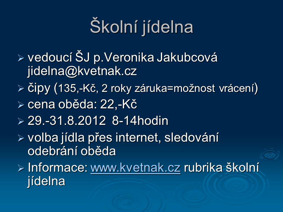 Školní jídelna  vedoucí ŠJ p.Veronika Jakubcová jidelna@kvetnak.cz  čipy ( 135,-Kč, 2 roky záruka=možnost vrácení )  cena oběda: 22,-Kč  29.-31.8.