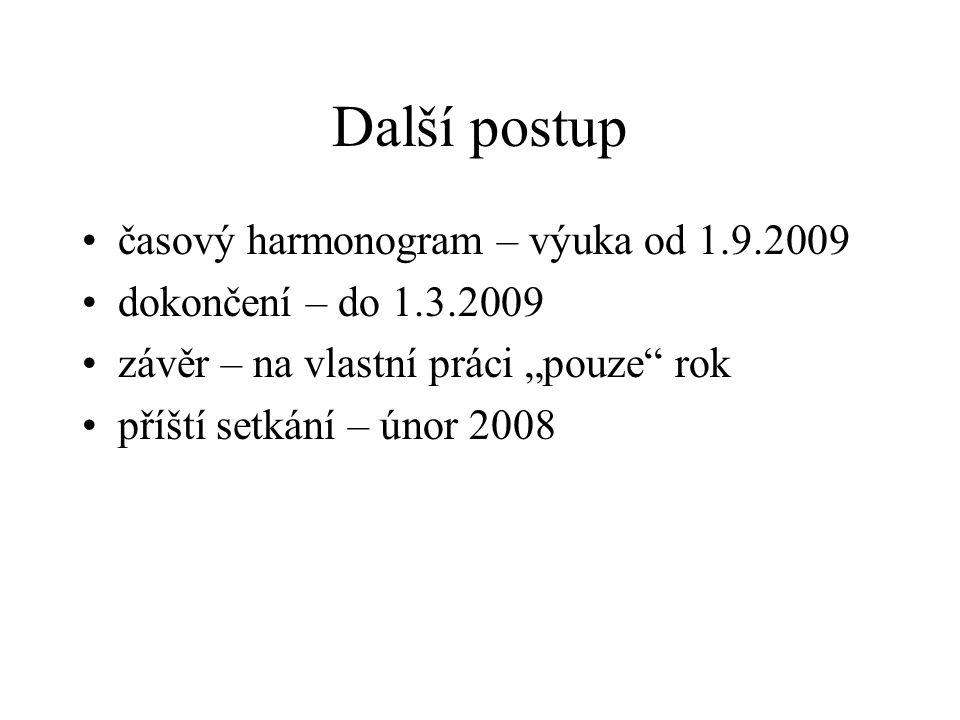 """Další postup časový harmonogram – výuka od 1.9.2009 dokončení – do 1.3.2009 závěr – na vlastní práci """"pouze rok příští setkání – únor 2008"""