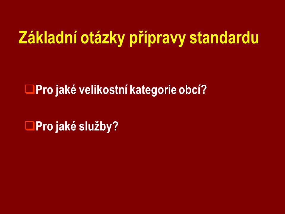 Základní otázky přípravy standardu  Pro jaké velikostní kategorie obcí?  Pro jaké služby?