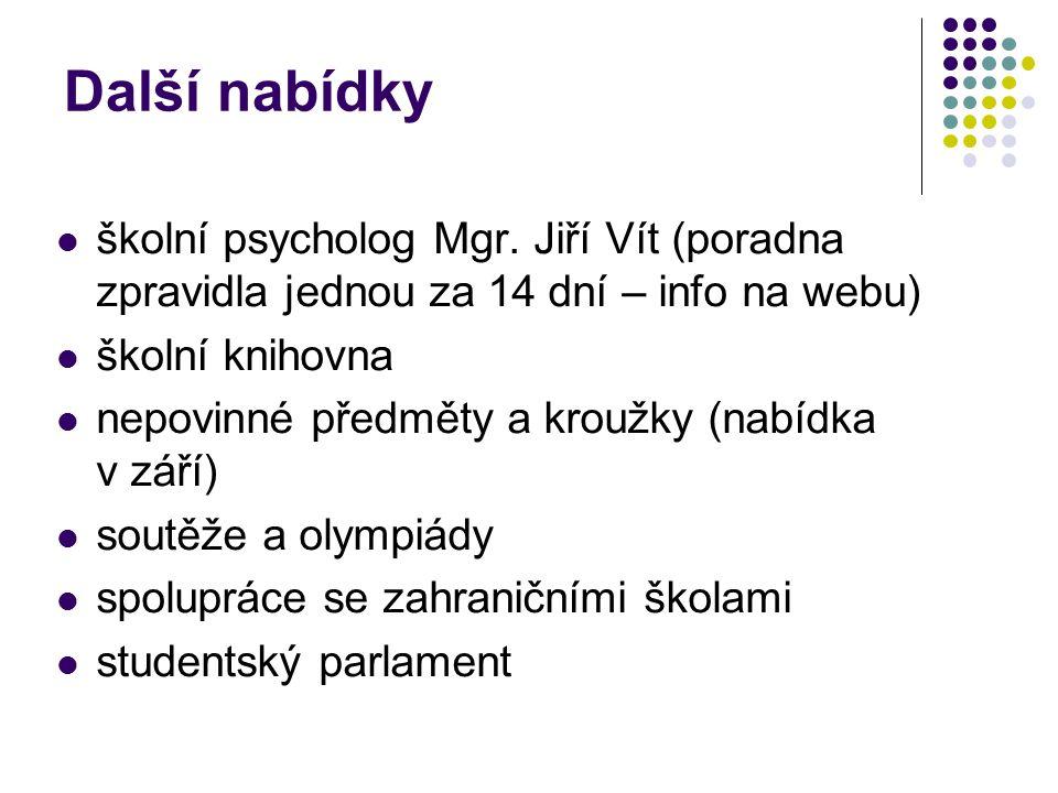 Další nabídky školní psycholog Mgr. Jiří Vít (poradna zpravidla jednou za 14 dní – info na webu) školní knihovna nepovinné předměty a kroužky (nabídka
