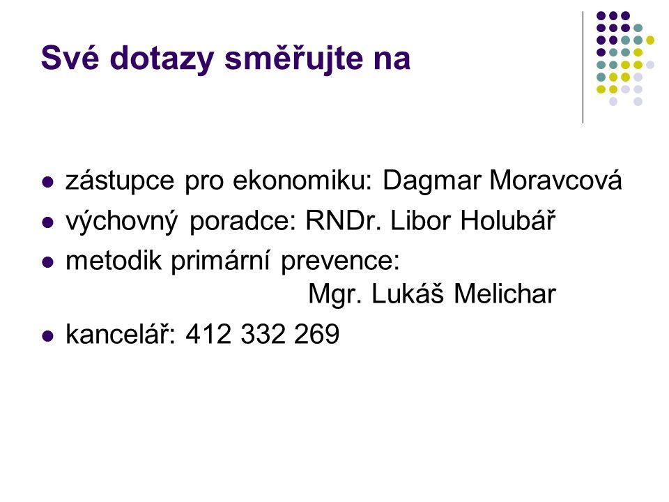 Své dotazy směřujte na zástupce pro ekonomiku: Dagmar Moravcová výchovný poradce: RNDr. Libor Holubář metodik primární prevence: Mgr. Lukáš Melichar k