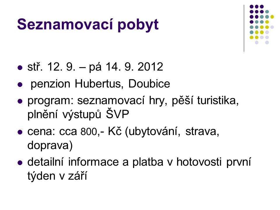 Seznamovací pobyt stř. 12. 9. – pá 14. 9. 2012 penzion Hubertus, Doubice program: seznamovací hry, pěší turistika, plnění výstupů ŠVP cena: cca 800,-