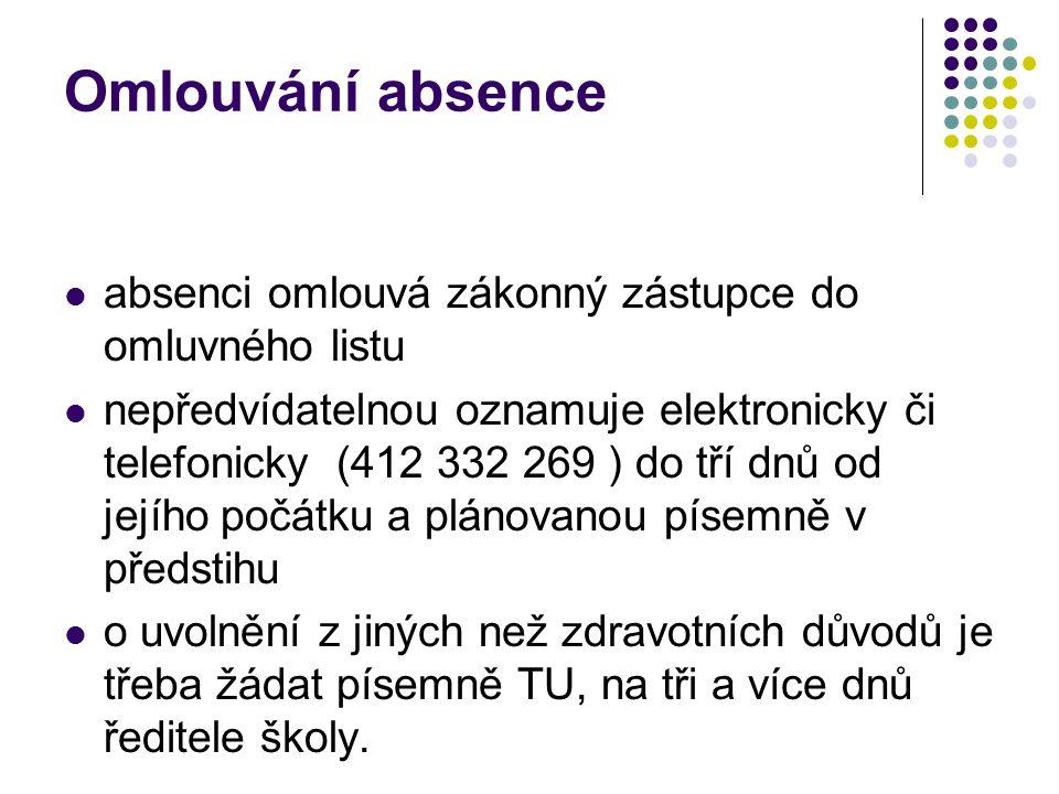 Omlouvání absence absenci omlouvá zákonný zástupce do omluvného listu nepředvídatelnou oznamuje elektronicky či telefonicky (412 332 269 ) do tří dnů