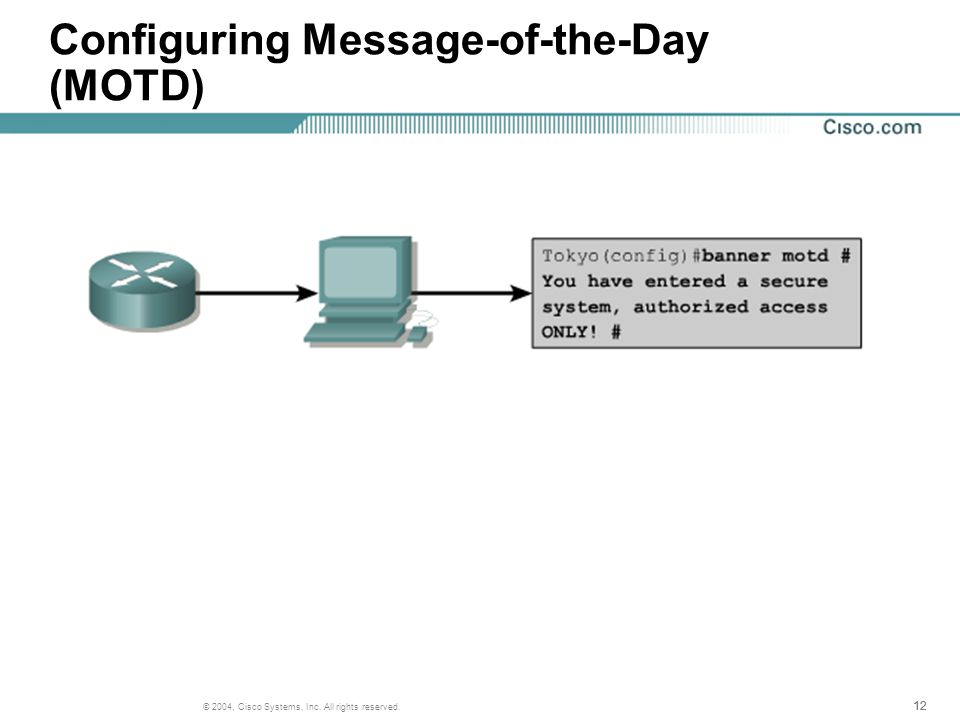 12 © 2004, Cisco Systems, Inc. All rights reserved. Configuring Message-of-the-Day (MOTD)