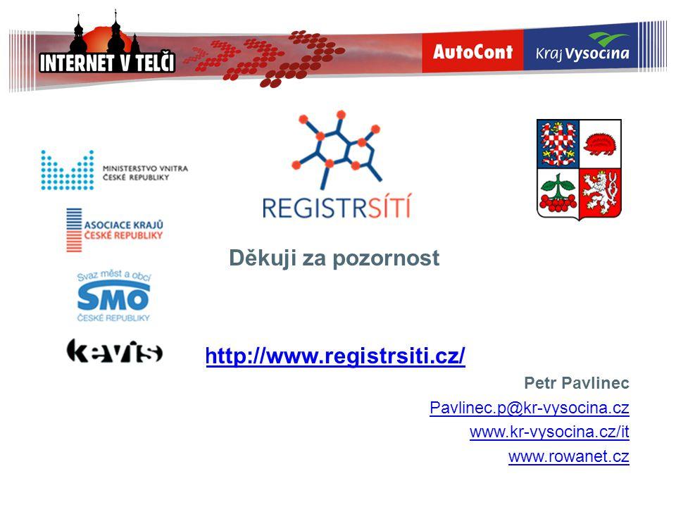 Děkuji za pozornost http://www.registrsiti.cz/ Petr Pavlinec Pavlinec.p@kr-vysocina.cz www.kr-vysocina.cz/it www.rowanet.cz