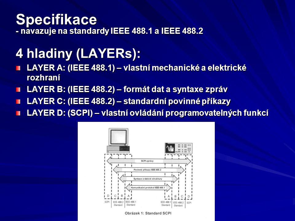 Specifikace - navazuje na standardy IEEE 488.1 a IEEE 488.2 4 hladiny (LAYERs): LAYER A: (IEEE 488.1) – vlastní mechanické a elektrické rozhraní LAYER