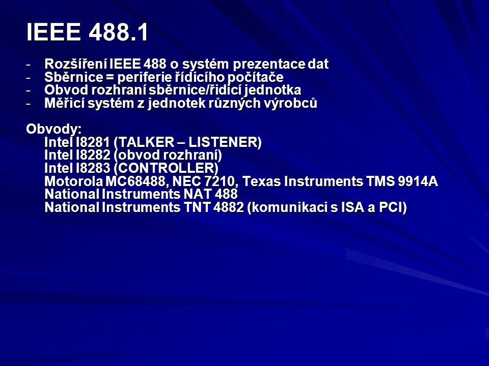 IEEE 488.1 -Rozšíření IEEE 488 o systém prezentace dat -Sběrnice = periferie řídicího počítače -Obvod rozhraní sběrnice/řidicí jednotka -Měřicí systém