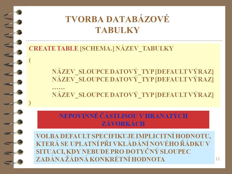 11 TVORBA DATABÁZOVÉ TABULKY CREATE TABLE [SCHEMA.] NÁZEV_TABULKY ( NÁZEV_SLOUPCE DATOVÝ_TYP [DEFAULT VÝRAZ] …… NÁZEV_SLOUPCE DATOVÝ_TYP [DEFAULT VÝRA
