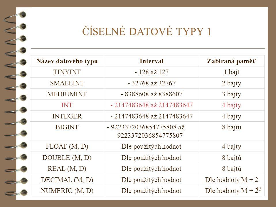 13 ČÍSELNÉ DATOVÉ TYPY 1 Název datového typuIntervalZabíraná paměť TINYINT- 128 až 1271 bajt SMALLINT- 32768 až 327672 bajty MEDIUMINT- 8388608 až 838