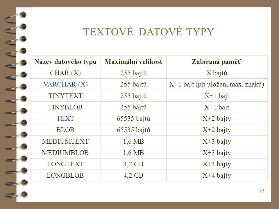 15 TEXTOVÉ DATOVÉ TYPY Název datového typuMaximální velikostZabíraná paměť CHAR (X)255 bajtůX bajtů VARCHAR (X)255 bajtůX+1 bajt (při uložení max. zna