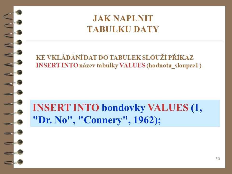 30 JAK NAPLNIT TABULKU DATY KE VKLÁDÁNÍ DAT DO TABULEK SLOUŽÍ PŘÍKAZ INSERT INTO název tabulky VALUES (hodnota_sloupce1 ) INSERT INTO bondovky VALUES