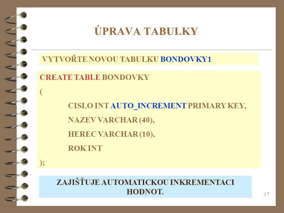 37 ÚPRAVA TABULKY VYTVOŘTE NOVOU TABULKU BONDOVKY1 CREATE TABLE BONDOVKY ( CISLO INT AUTO_INCREMENT PRIMARY KEY, NAZEV VARCHAR (40), HEREC VARCHAR (10), ROK INT ); ZAJIŠŤUJE AUTOMATICKOU INKREMENTACI HODNOT.