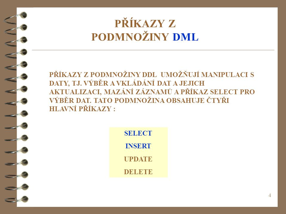 25 MODIFIKACE PARAMETRŮ MODIFY nazev_sloupce nove_nastaveni; - u požadovaného sloupce změní datový typ - př.: ALTER TABLE knihovna MODIFY kniha VARCHAR(30) NOT NULL; ALTER TABLE knihovna MODIFY kniha VARCHAR(30) NOT NULL;