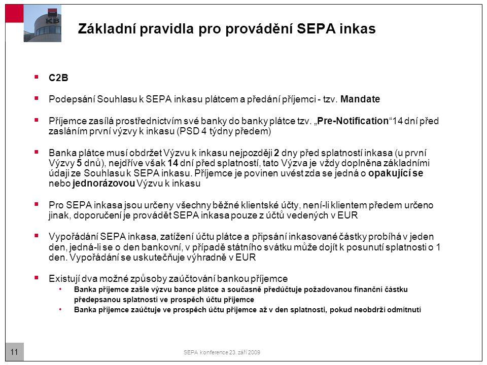 11 SEPA konference 23. září 2009 Základní pravidla pro provádění SEPA inkas  C2B  Podepsání Souhlasu k SEPA inkasu plátcem a předání příjemci - tzv.