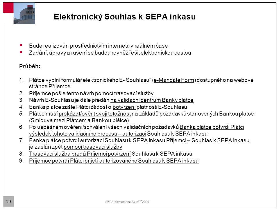 19 SEPA konference 23. září 2009 Elektronický Souhlas k SEPA inkasu  Bude realizován prostřednictvím internetu v reálném čase  Zadání, úpravy a ruše