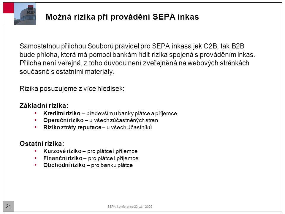 21 SEPA konference 23. září 2009 Možná rizika při provádění SEPA inkas Samostatnou přílohou Souborů pravidel pro SEPA inkasa jak C2B, tak B2B bude pří
