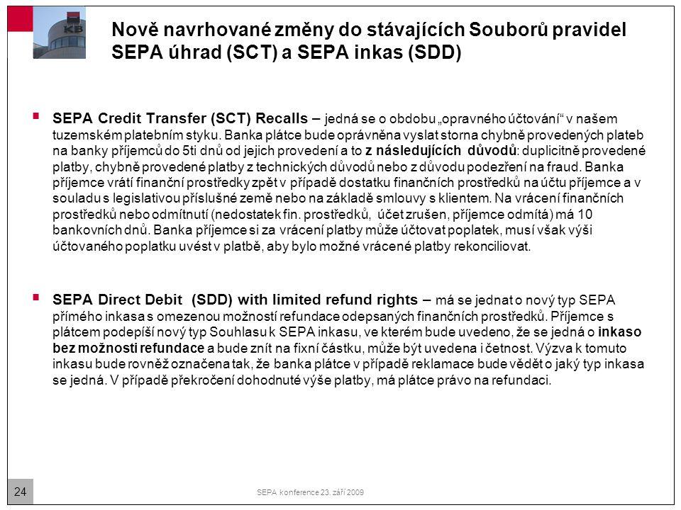 24 SEPA konference 23. září 2009 Nově navrhované změny do stávajících Souborů pravidel SEPA úhrad (SCT) a SEPA inkas (SDD)  SEPA Credit Transfer (SCT