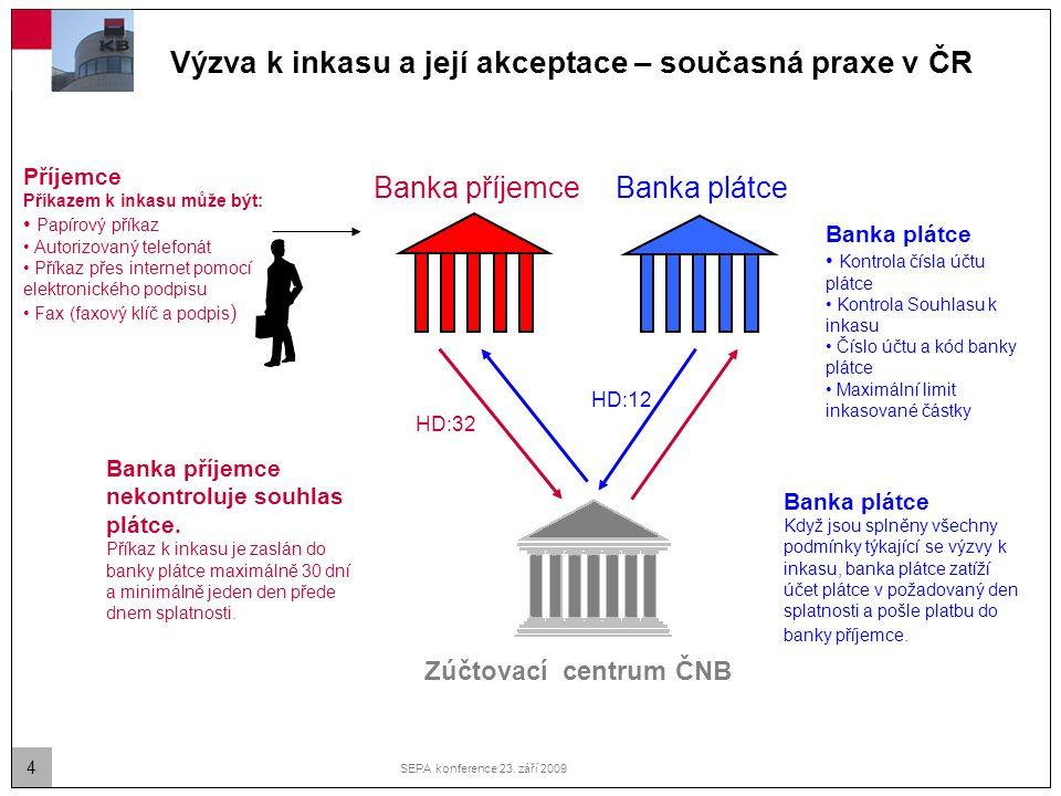 4 SEPA konference 23. září 2009 Výzva k inkasu a její akceptace – současná praxe v ČR Banka plátce Banka příjemce Příjemce Příkazem k inkasu může být: