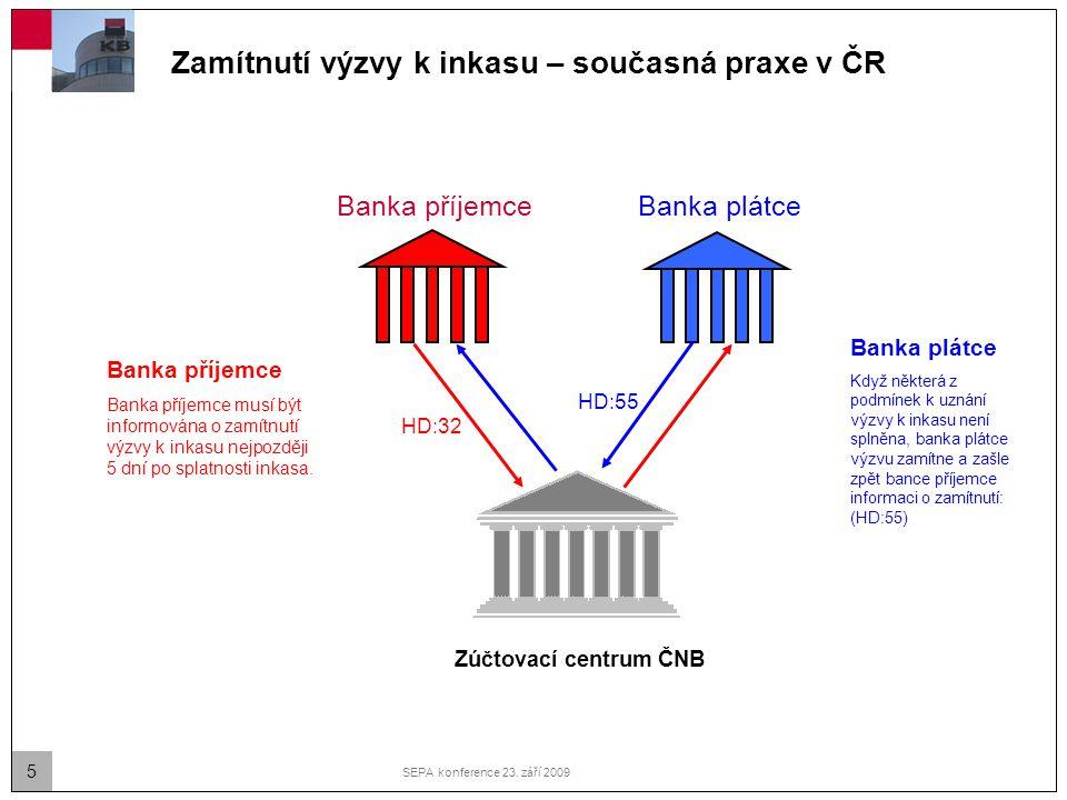 5 SEPA konference 23. září 2009 Zamítnutí výzvy k inkasu – současná praxe v ČR Banka plátce Banka příjemce Banka příjemce musí být informována o zamít