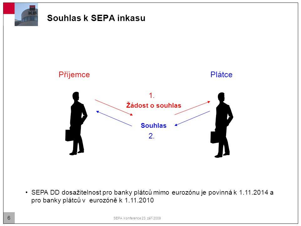 6 SEPA konference 23. září 2009 Souhlas k SEPA inkasu Žádost o souhlas Souhlas PlátcePříjemce SEPA DD dosažitelnost pro banky plátců mimo eurozónu je