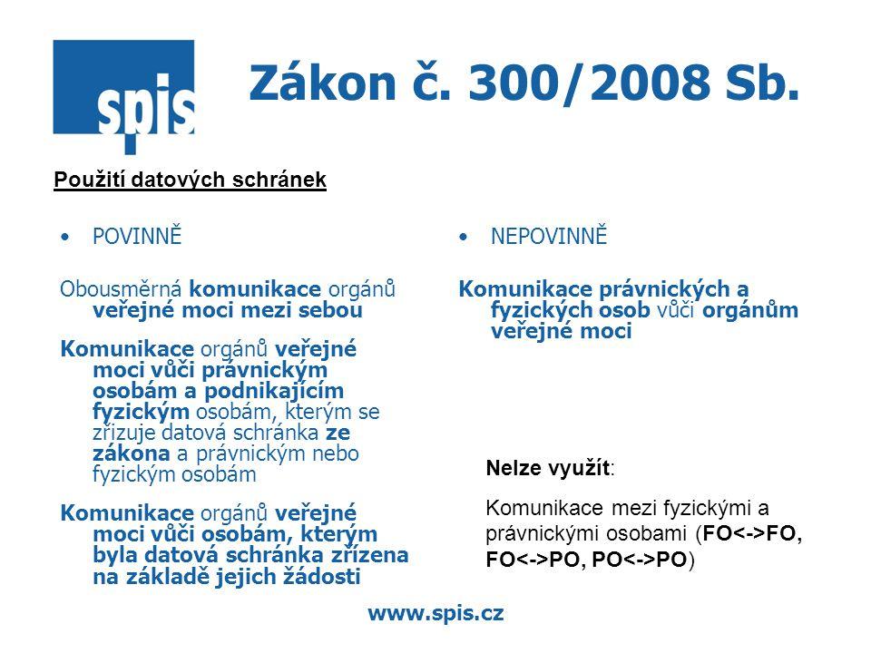www.spis.cz Zákon č. 300/2008 Sb. POVINNĚ Obousměrná komunikace orgánů veřejné moci mezi sebou Komunikace orgánů veřejné moci vůči právnickým osobám a