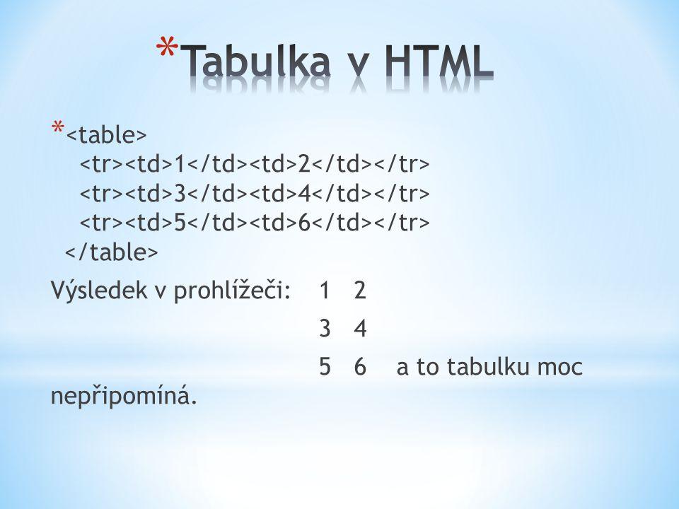 * 1 2 3 4 5 6 Výsledek v prohlížeči: 1 2 3 4 5 6 a to tabulku moc nepřipomíná.