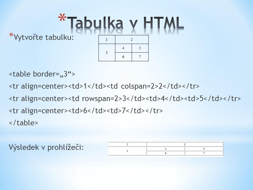 * Vytvořte tabulku: 1 2 3 4 5 6 7 Výsledek v prohlížeči: 12 3 45 67