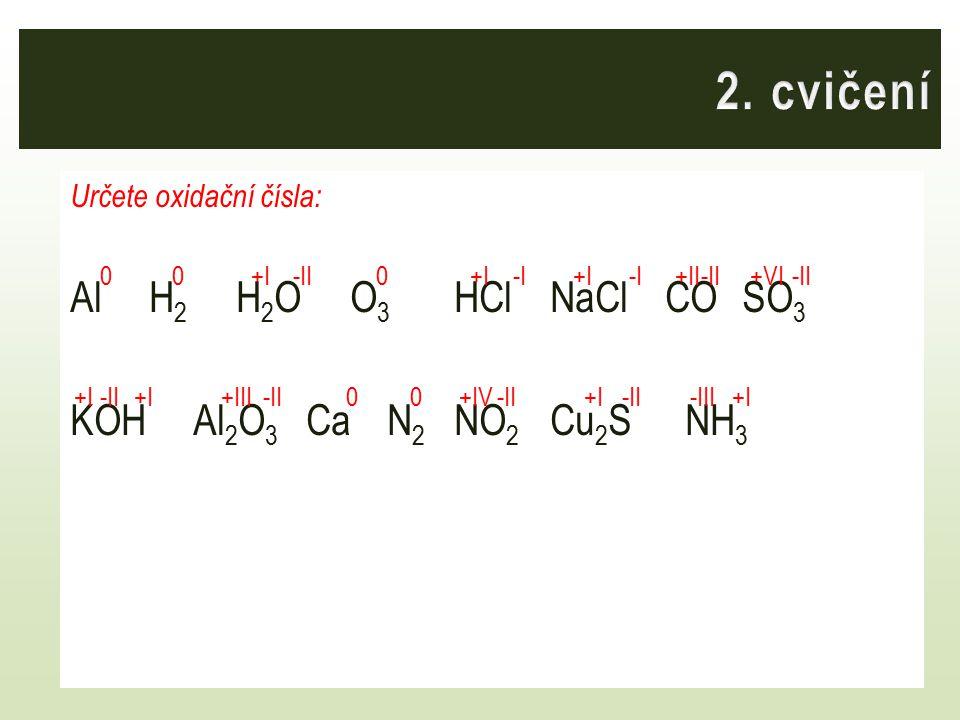 Určete oxidační čísla: Al H 2 H 2 O O 3 HClNaCl COSO 3 KOH Al 2 O 3 Ca N 2 NO 2 Cu 2 S NH 3 000 00 -II +I -I +I +II +I-II+III-III+IV +VI