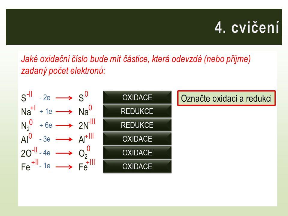 Jaké oxidační číslo bude mít částice, která odevzdá (nebo přijme) zadaný počet elektronů:SNa N 2 2NAl 2OO 2Fe -II 0 0 +I 0 +III 0 0 -III +III -II +II