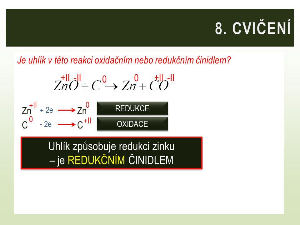 Je uhlík v této reakci oxidačním nebo redukčním činidlem? ZnZn CC 0 +II 0 0 + 2e - 2e OXIDACE REDUKCE -II +II0 Uhlík způsobuje redukci zinku – je REDU