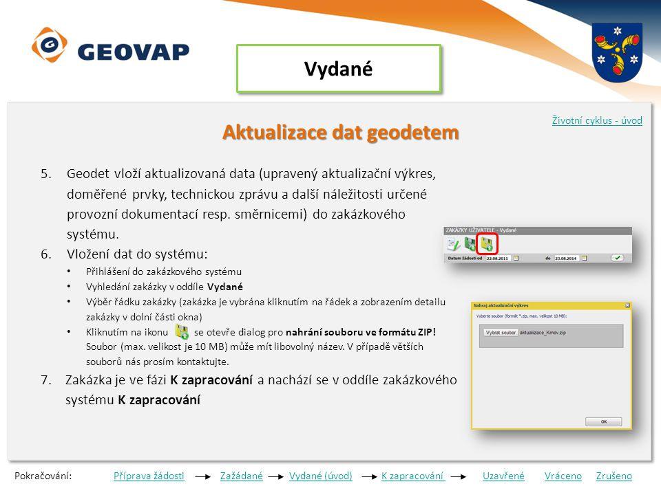 K zapracování Kontrola aktualizovaných dat Kontrola aktualizovaných dat 1.Správce datového skladu zkontroluje aktualizovaná data 2.Pracovník správce DS informuje geodeta o výsledku kontroly a)Správce DS zjistí chyby data jsou vrácena k dopracování VrácenoVráceno b)Správce akceptuje předání viz bod 3.