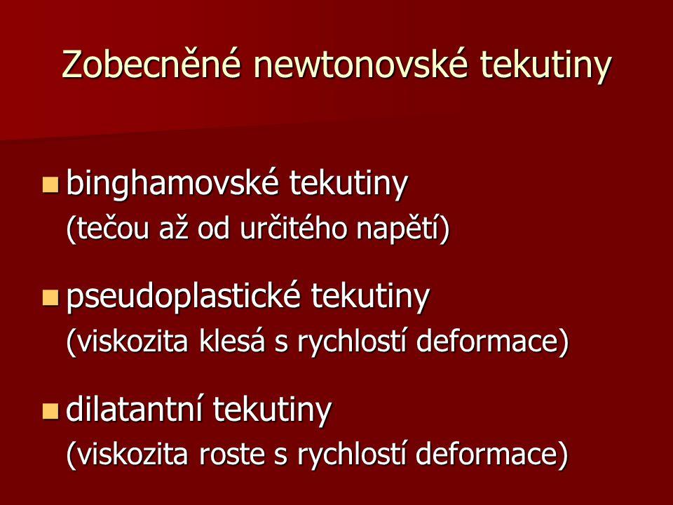 Zobecněné newtonovské tekutiny binghamovské tekutiny binghamovské tekutiny (tečou až od určitého napětí) pseudoplastické tekutiny pseudoplastické teku