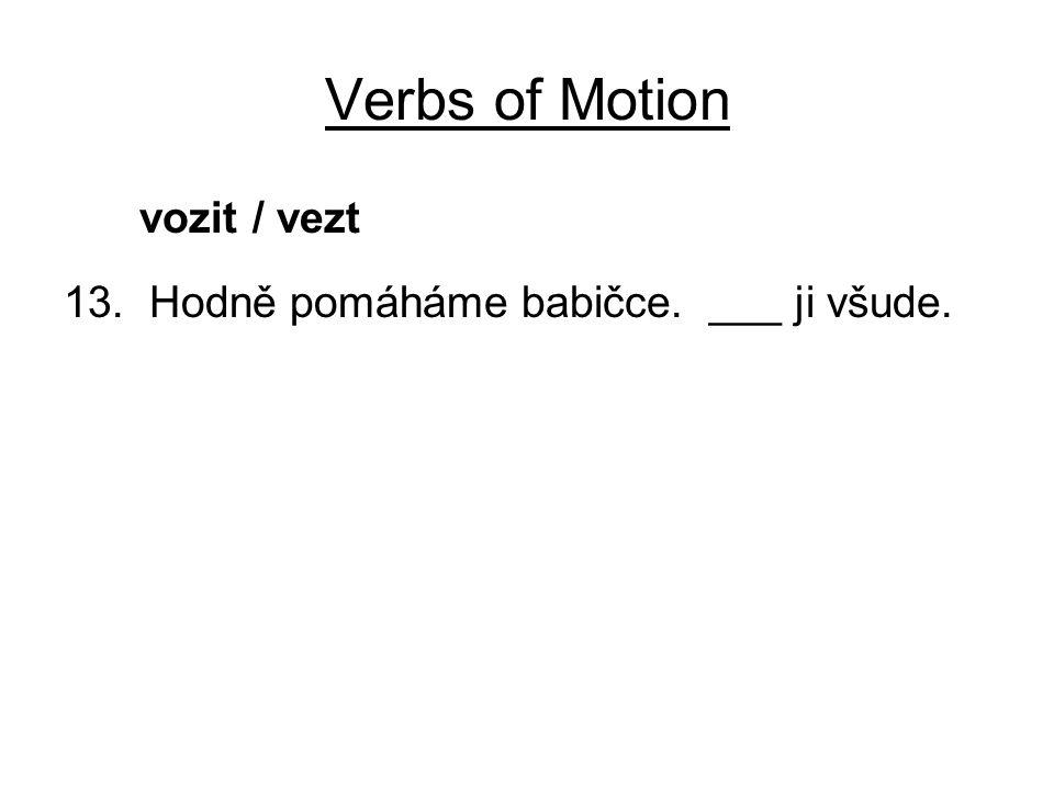 Verbs of Motion vozit / vezt 13. Hodně pomáháme babičce. ___ ji všude.