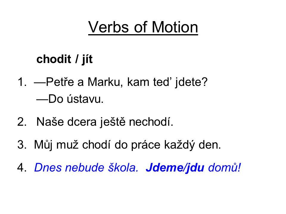 Verbs of Motion chodit / jít 1. —Petře a Marku, kam ted' jdete? —Do ústavu. 2.Naše dcera ještě nechodí. 3. Můj muž chodí do práce každý den. 4. Dnes n