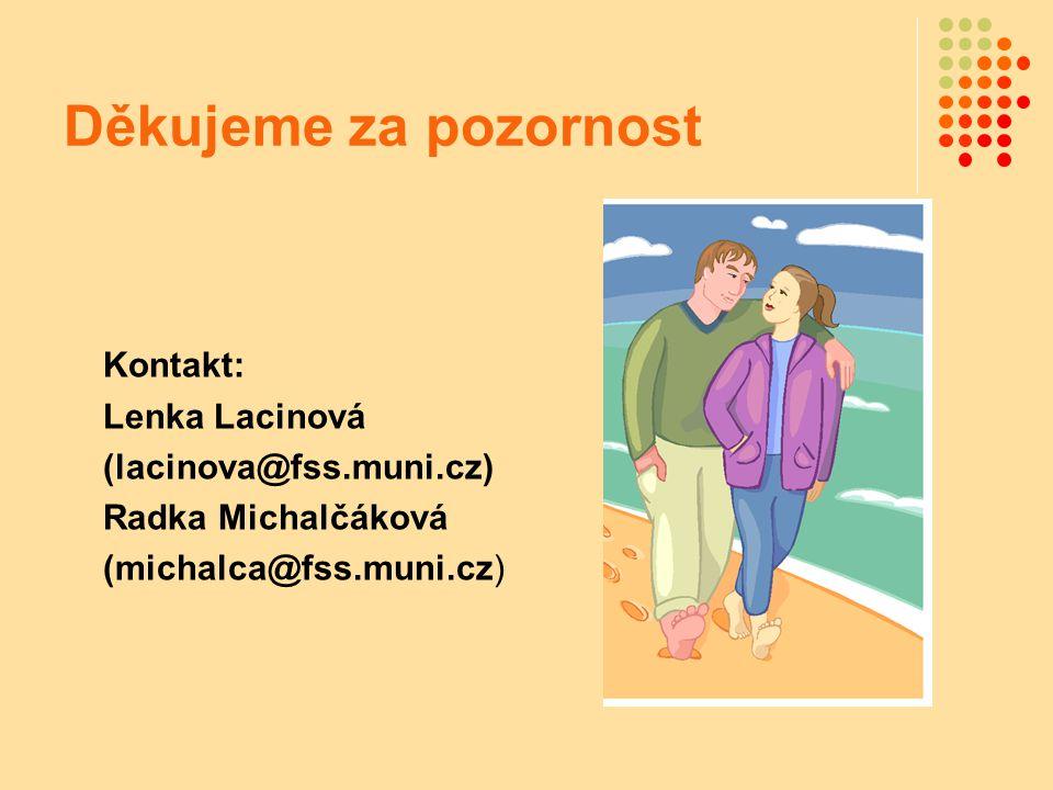 Děkujeme za pozornost Kontakt: Lenka Lacinová (lacinova@fss.muni.cz) Radka Michalčáková (michalca@fss.muni.cz)