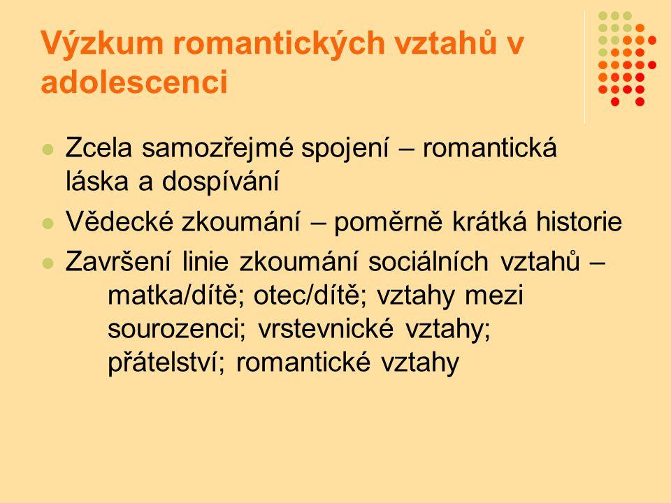 Výzkum romantických vztahů v adolescenci Zcela samozřejmé spojení – romantická láska a dospívání Vědecké zkoumání – poměrně krátká historie Završení l