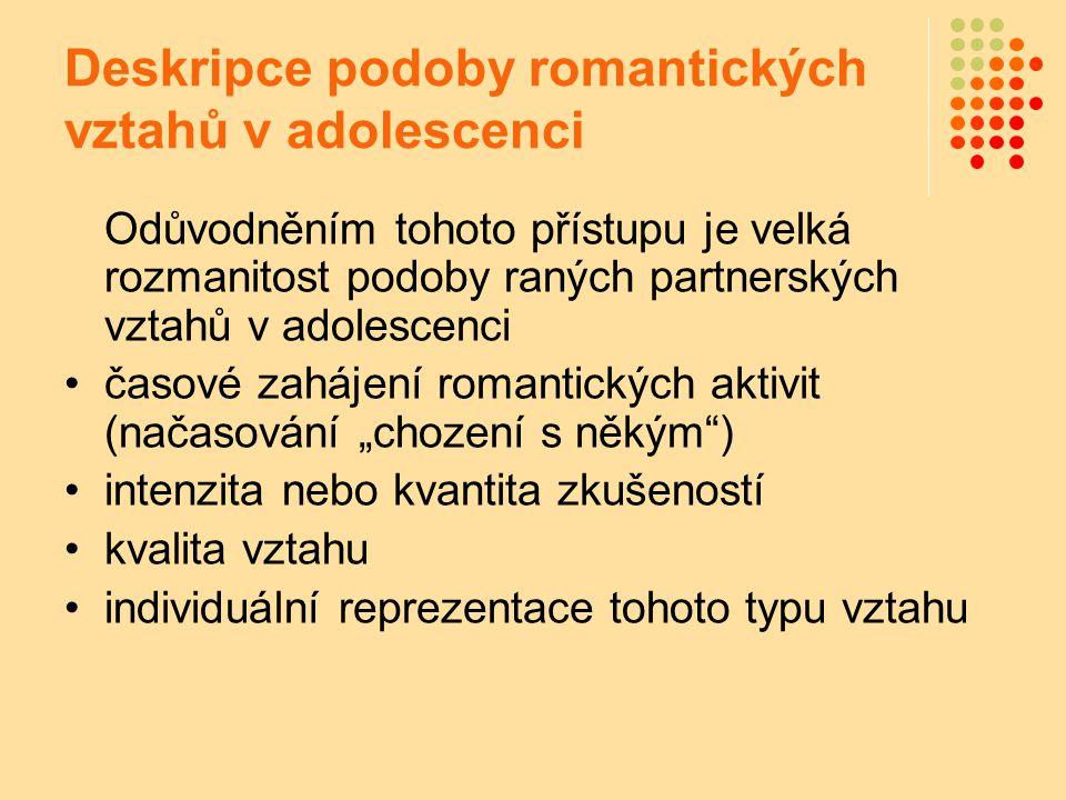 Deskripce podoby romantických vztahů v adolescenci Odůvodněním tohoto přístupu je velká rozmanitost podoby raných partnerských vztahů v adolescenci ča