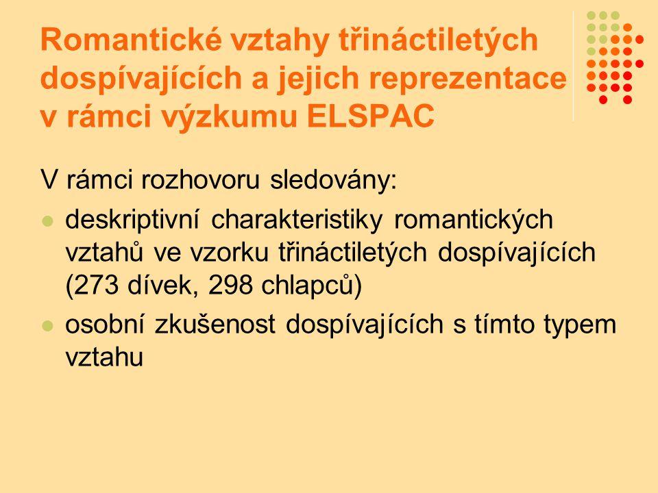 Romantické vztahy třináctiletých dospívajících a jejich reprezentace v rámci výzkumu ELSPAC V rámci rozhovoru sledovány: deskriptivní charakteristiky