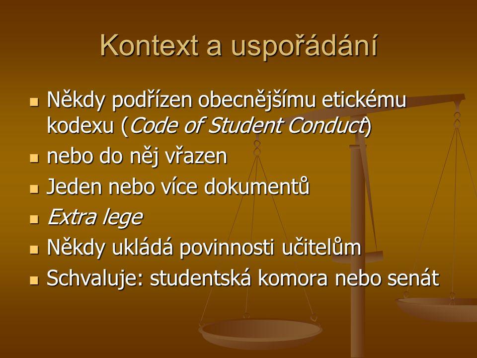 Kontext a uspořádání Někdy podřízen obecnějšímu etickému kodexu (Code of Student Conduct) Někdy podřízen obecnějšímu etickému kodexu (Code of Student