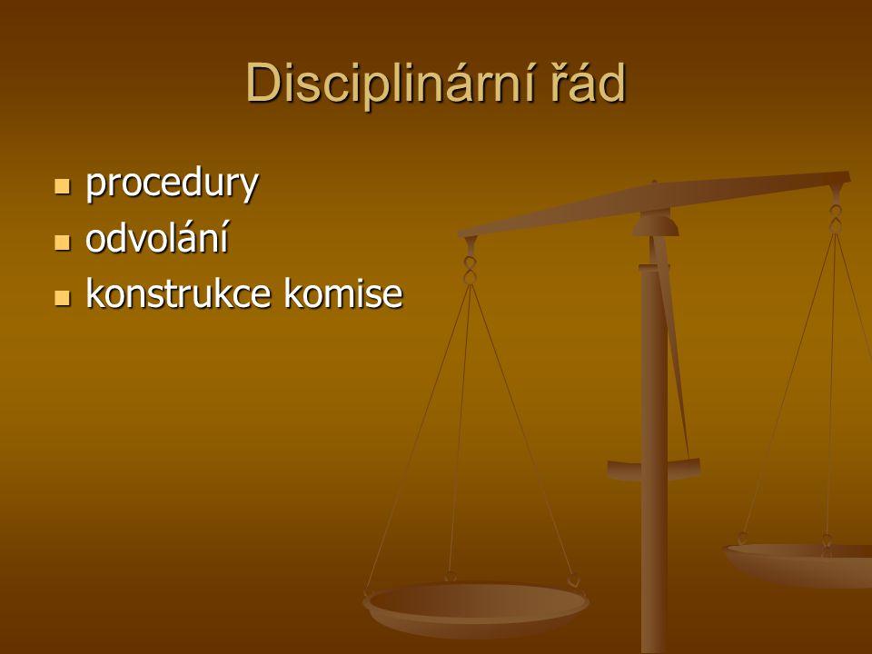 Disciplinární řád procedury procedury odvolání odvolání konstrukce komise konstrukce komise