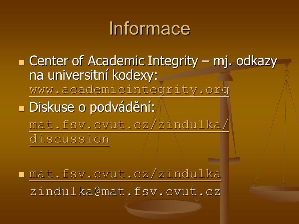 Informace Center of Academic Integrity – mj. odkazy na universitní kodexy: www.academicintegrity.org Center of Academic Integrity – mj. odkazy na univ
