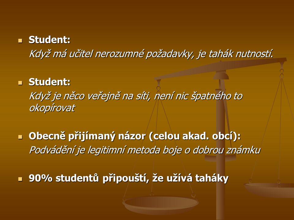 Student: Student: Když má učitel nerozumné požadavky, je tahák nutností. Student: Student: Když je něco veřejně na síti, není nic špatného to okopírov