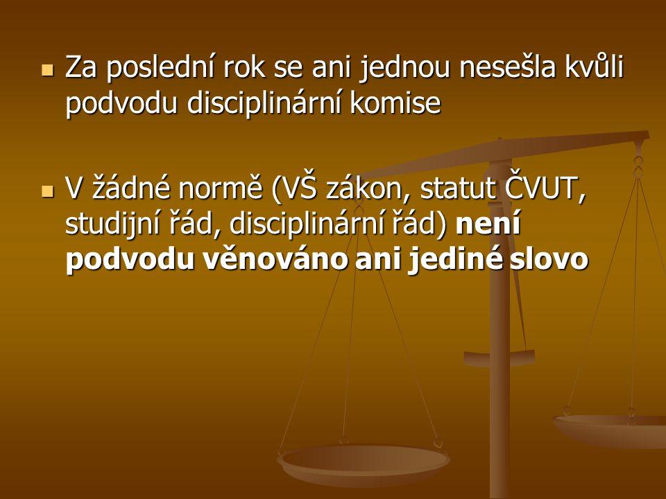 Za poslední rok se ani jednou nesešla kvůli podvodu disciplinární komise Za poslední rok se ani jednou nesešla kvůli podvodu disciplinární komise V žádné normě (VŠ zákon, statut ČVUT, studijní řád, disciplinární řád) není podvodu věnováno ani jediné slovo V žádné normě (VŠ zákon, statut ČVUT, studijní řád, disciplinární řád) není podvodu věnováno ani jediné slovo