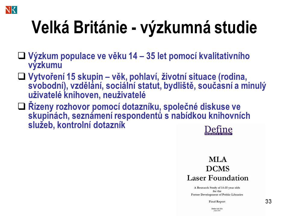 33 Velká Británie - výzkumná studie  Výzkum populace ve věku 14 – 35 let pomocí kvalitativního výzkumu  Vytvoření 15 skupin – věk, pohlaví, životní situace (rodina, svobodní), vzdělání, sociální statut, bydliště, současní a minulý uživatelé knihoven, neuživatelé  Řízeny rozhovor pomocí dotazníku, společné diskuse ve skupinách, seznámení respondentů s nabídkou knihovních služeb, kontrolní dotazník