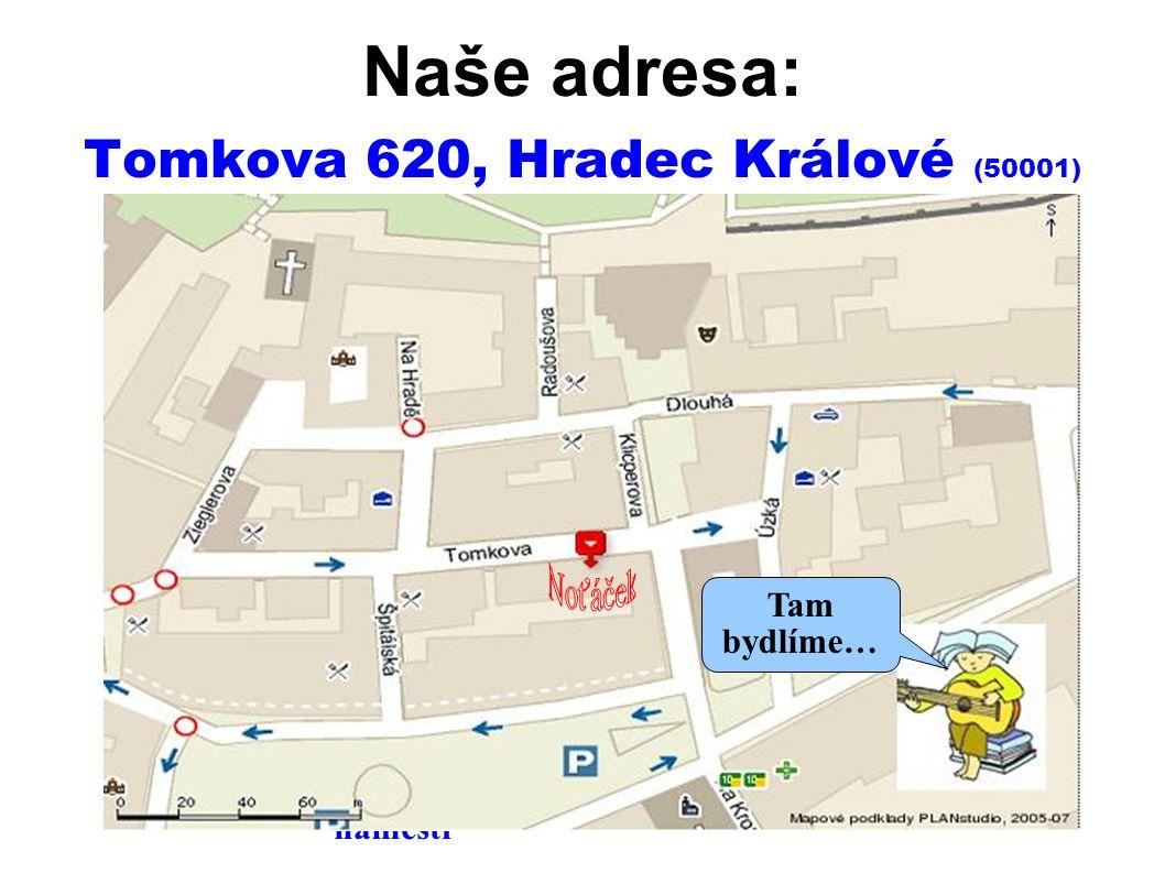 Naše adresa: Tomkova 620, Hradec Králové (50001)  Hudební knihovna Divadlo Velké náměstí Tam bydlíme…