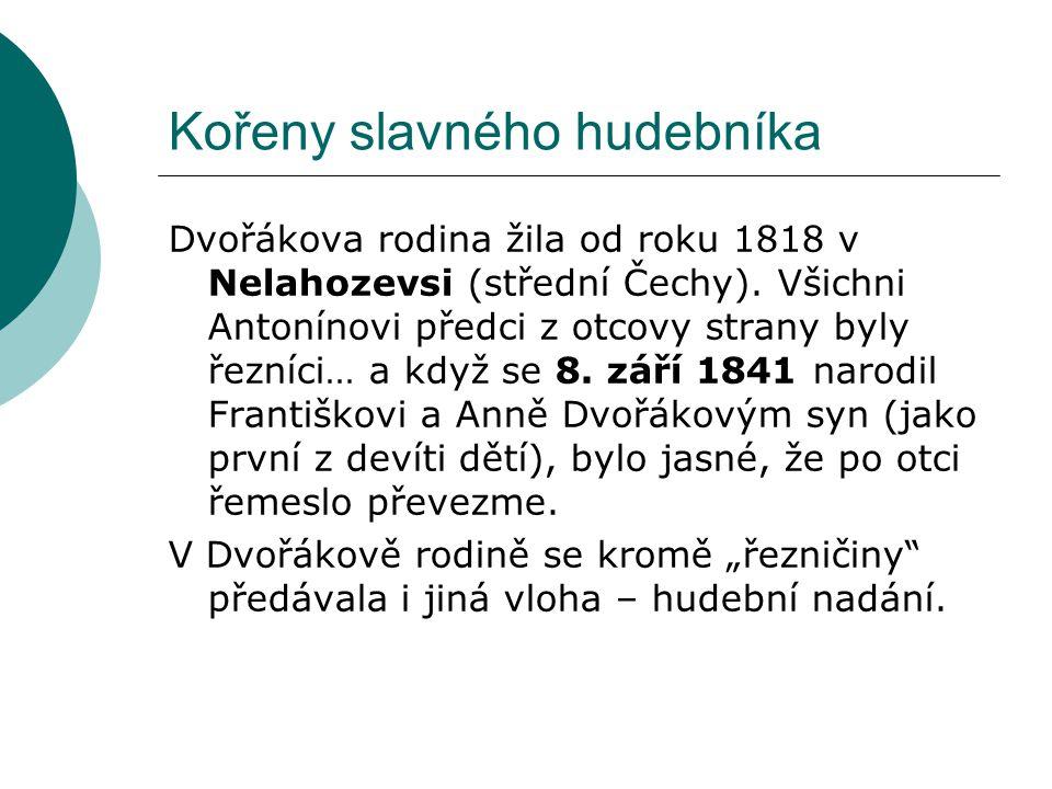 Kořeny slavného hudebníka Dvořákova rodina žila od roku 1818 v Nelahozevsi (střední Čechy). Všichni Antonínovi předci z otcovy strany byly řezníci… a