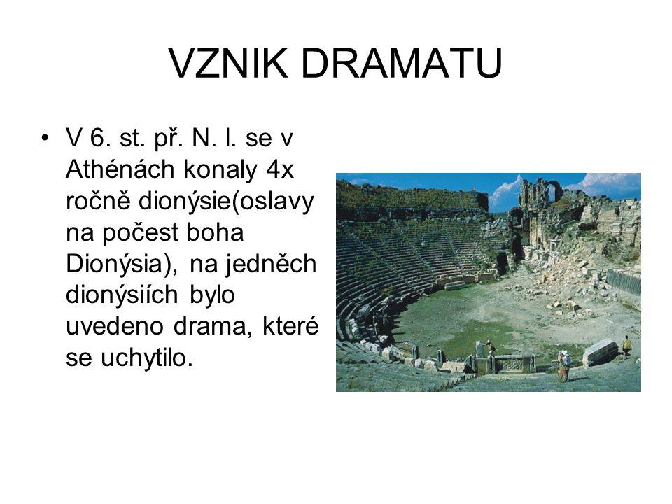 VZNIK DRAMATU V 6. st. př. N. l. se v Athénách konaly 4x ročně dionýsie(oslavy na počest boha Dionýsia), na jedněch dionýsiích bylo uvedeno drama, kte