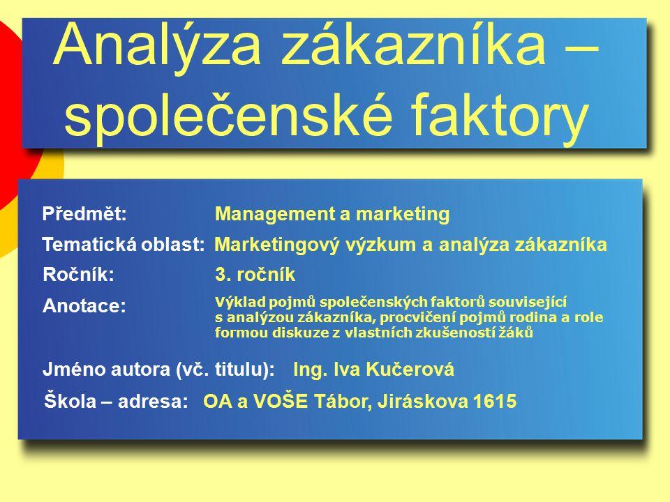 Analýza zákazníka – společenské faktory Jméno autora (vč.