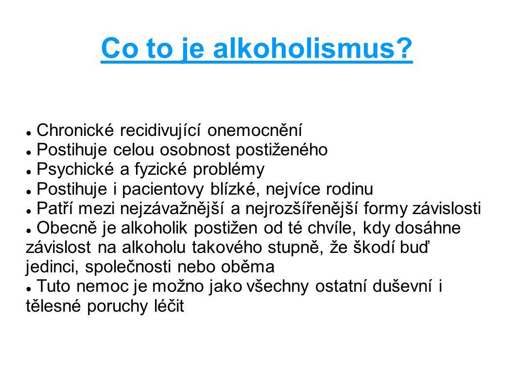 Co to je alkoholismus? Chronické recidivující onemocnění Postihuje celou osobnost postiženého Psychické a fyzické problémy Postihuje i pacientovy blíz
